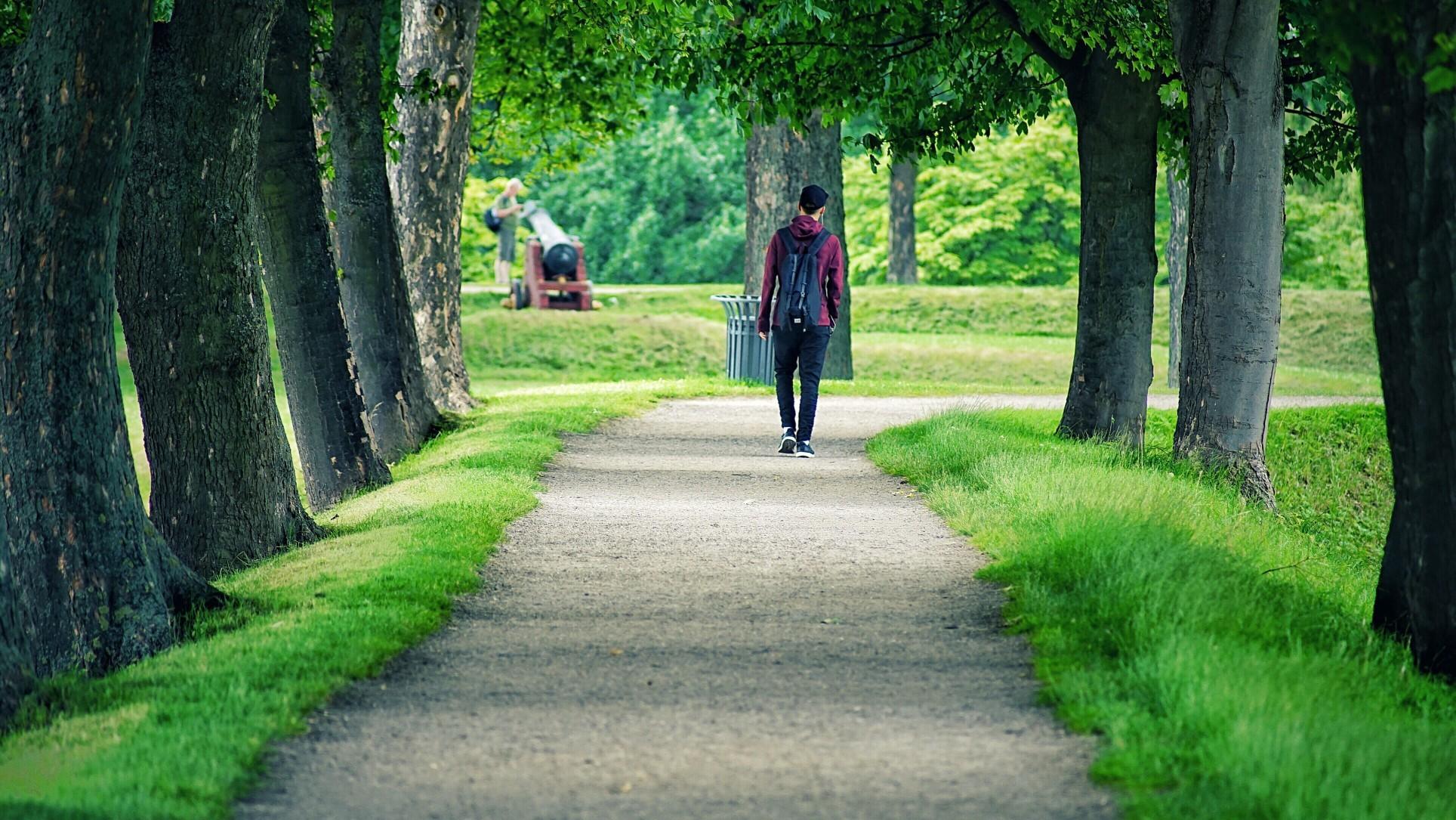 Walking alone in a park